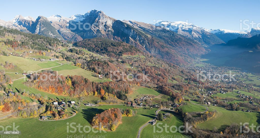 Samoens and the Criou mountain in the background stock photo