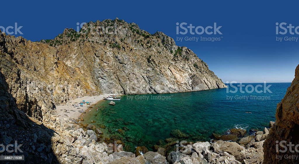 samothraki beach stock photo