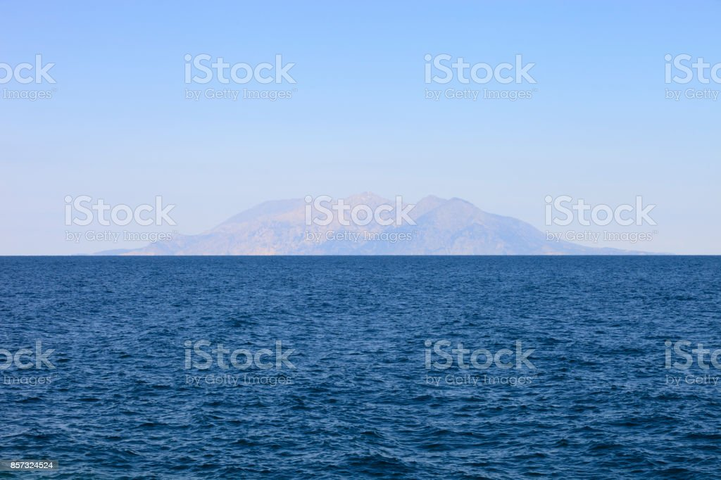Samothraki island silhouette from Gokceada(imroz) stock photo