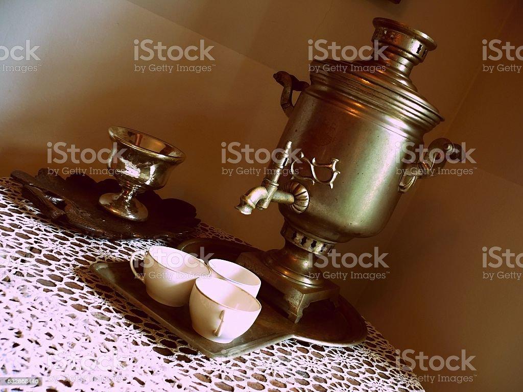 Самовар и кашка чай стоковое фото