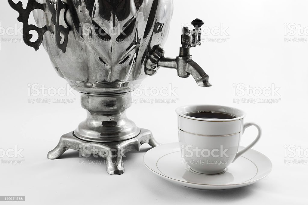 Samovar and tea cup royalty-free stock photo