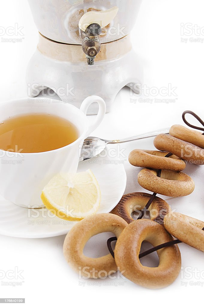 Samovar and tea cup with bagels royalty-free stock photo