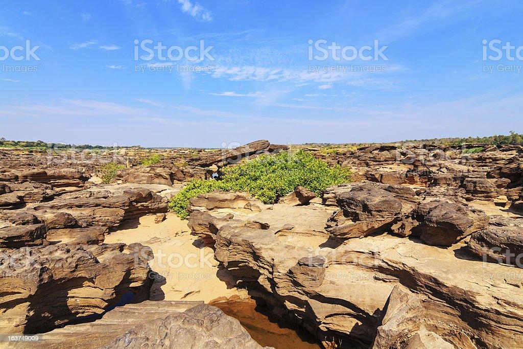 Sam-Pan-Bok Grand Canyon, Amazing of rock in Mekong river ,Ubonr royalty-free stock photo