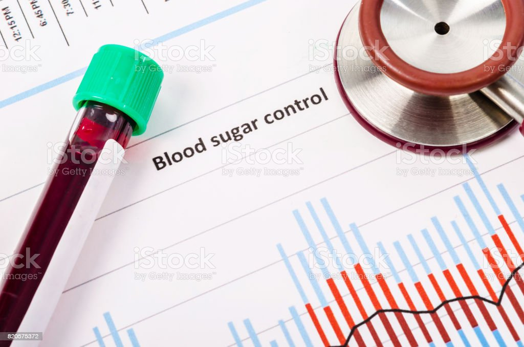 Sample blood for screening diabetic test stock photo