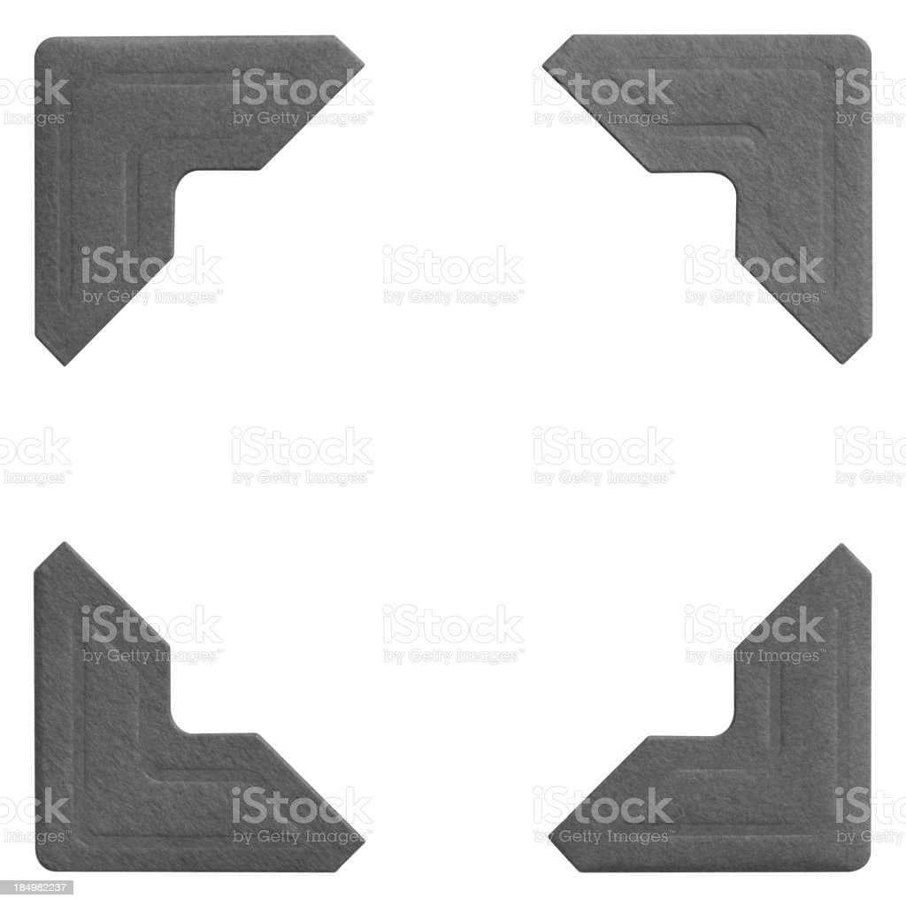 Sample images of four matching photo frame corners stock photo