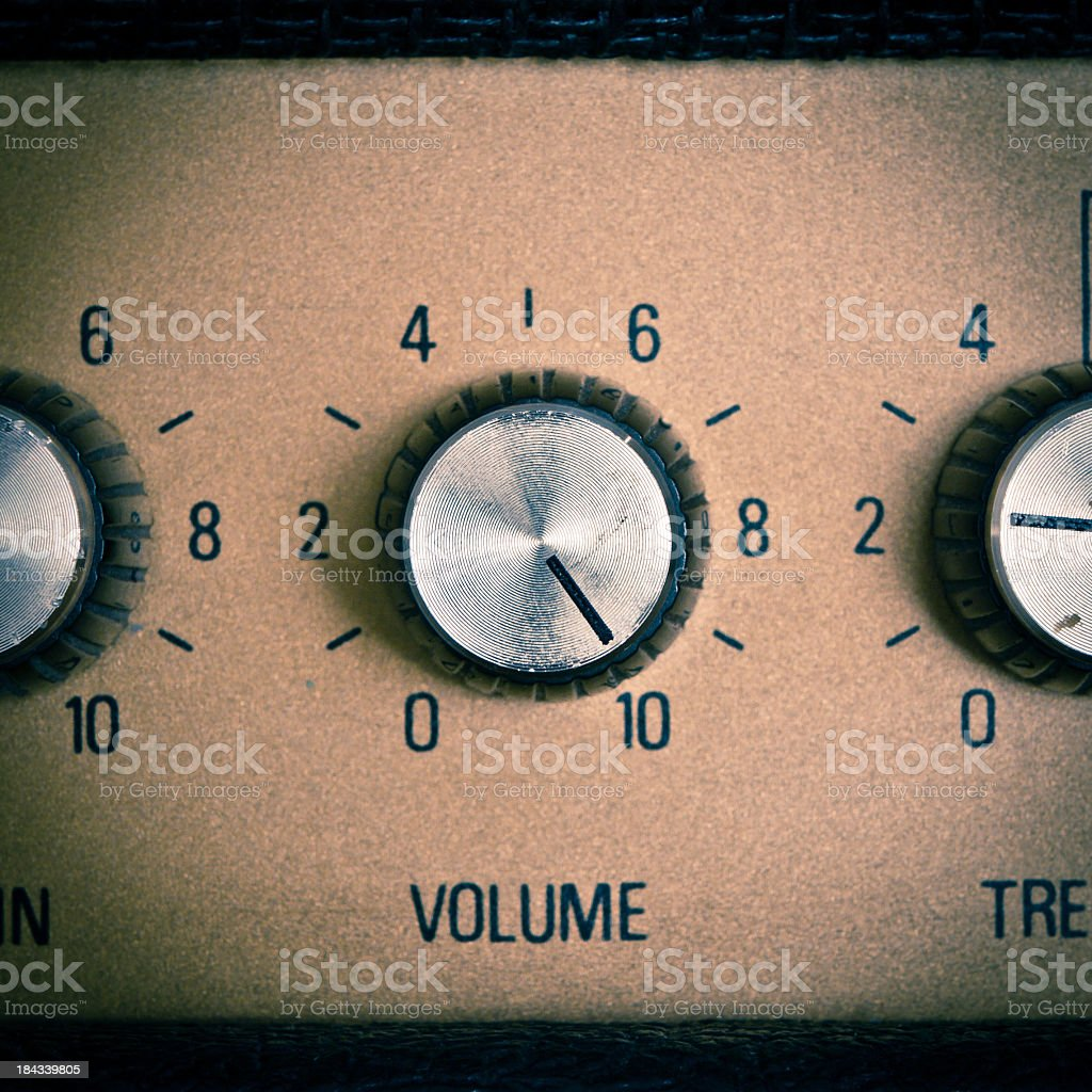 A sample of a retro mood with volume knob turned to maximum stock photo