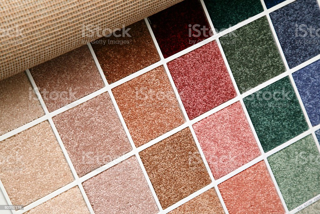 A sample of different textures and colors in a store stock photo