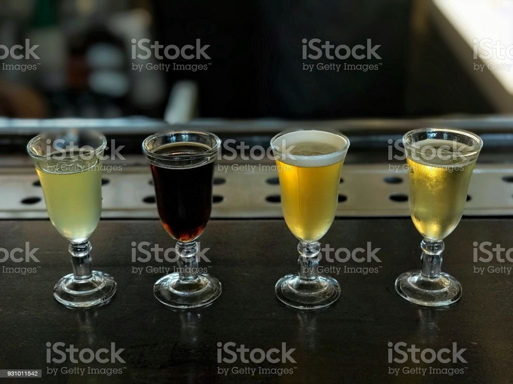 Sample of four kinds off beer stock photo