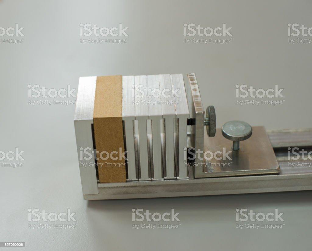 A sample of MDF (Medium Density Fibreboard) prepared for laboratory test stock photo