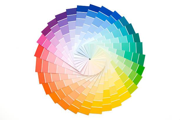 sample paint color palette - kleurenwaaier stockfoto's en -beelden