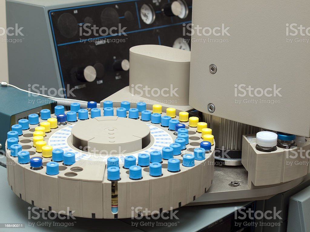 Sample Phials on a Gas Chromatograph Autosampler stock photo