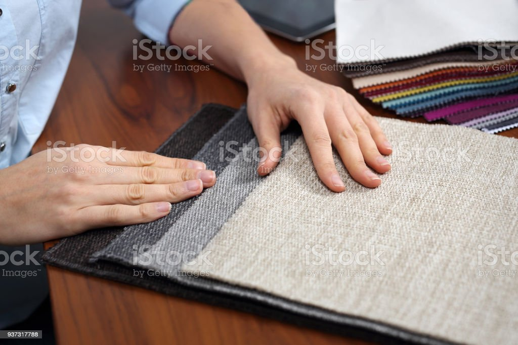 Sampler of fabric colors. stock photo