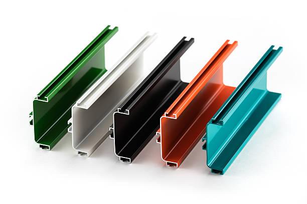 Samples of colorful aluminum profiles stock photo