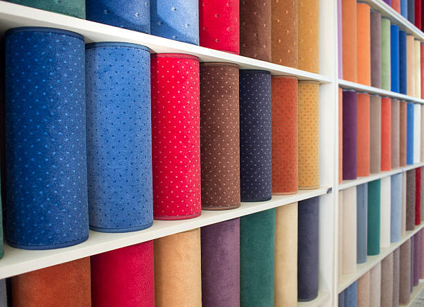 samples of colorful carpets stock photo