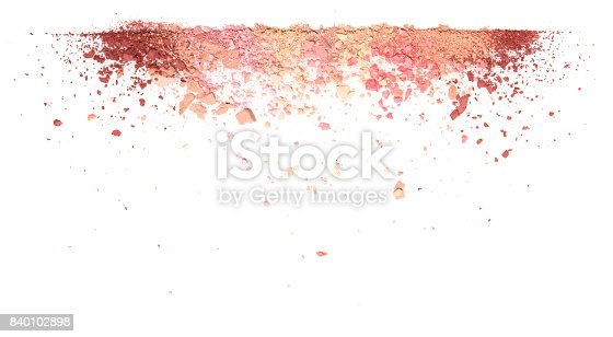 istock Samples of dry blush, powder, bronzers and highlighter scattered in a line isolated on a white background 840102898