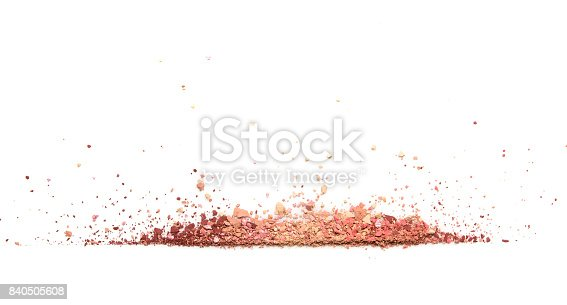 istock Samples of dry blush, powder, bronzers and highlighter scattered in a line isolated on a white background 840505608