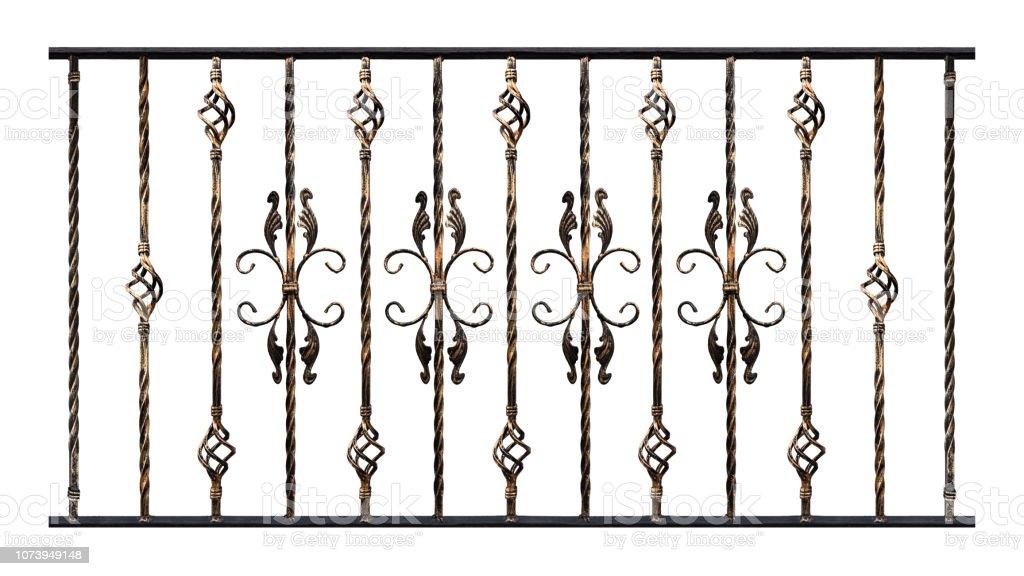 Muestras de productos forjados aislados sobre fondo blanco, dorado efecto. Elemento de decoración de barandillas de la escalera o balcón. Elementos para el trabajo del diseñador - foto de stock