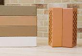 Samples of hollow bricks. Brick factory products.