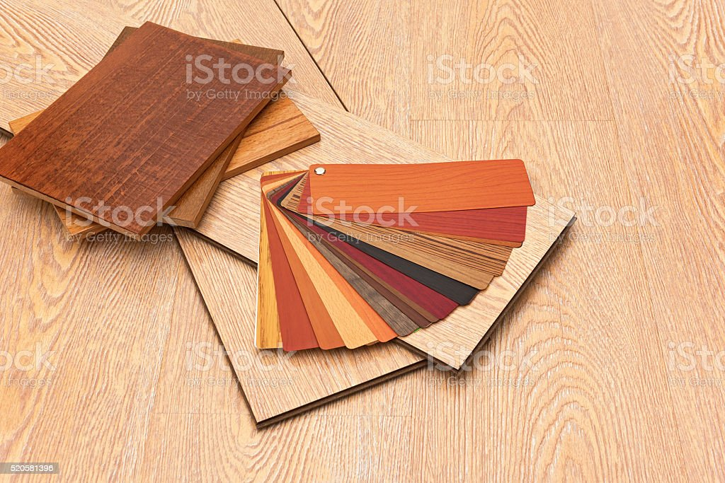 Samples of laminate floor boards stock photo