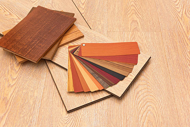 Samples of laminate floor boards stock photo