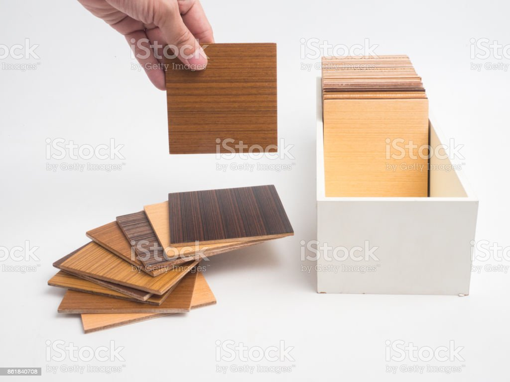 Samples of veneer wood on white background. interior design select material for idea. stock photo