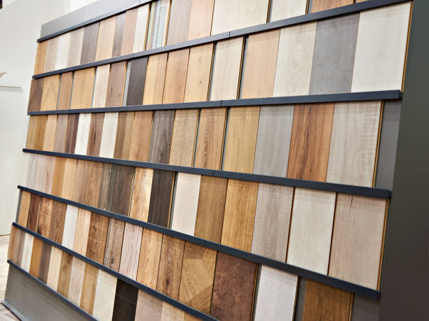 Samples of wooden laminate panels stock photo