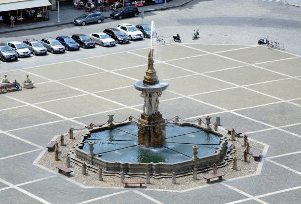 Samson fountain at the central square of Ceske Budejovice, Czech Republic stock photo