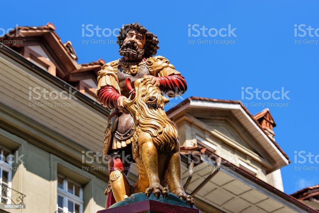 Samson fountain in Kramgasse street in Bern stock photo