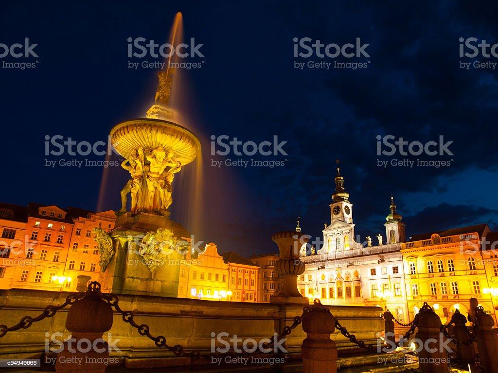 Samson's Fountain in Ceske Budejovice by night stock photo