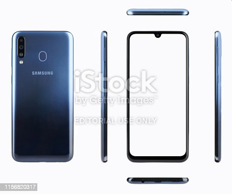 New york, USA - June 17, 2019: Samsung Galaxy m30 smartphone different views isolated on white background