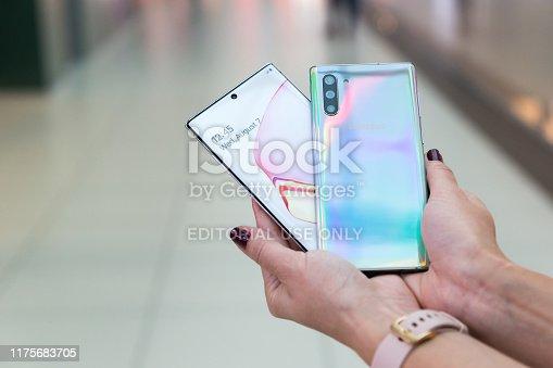 istock Samsung Galaxy Note 10 plus smartphones displayed in hands 1175683705