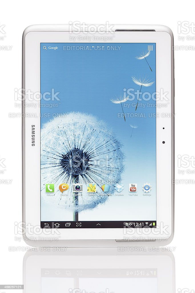 Samsung Galaxy Note 10.1 - N8000 isolated on white stock photo