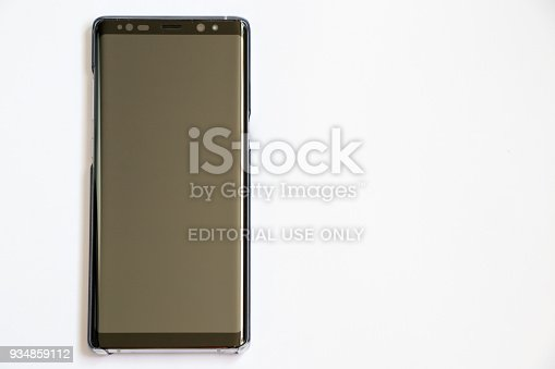 Samsung galaxy note 8 on white background. It is the flagship smartphone with android os.