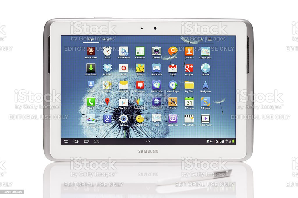Samsung Galaxy Note N8000, with clipping path stock photo