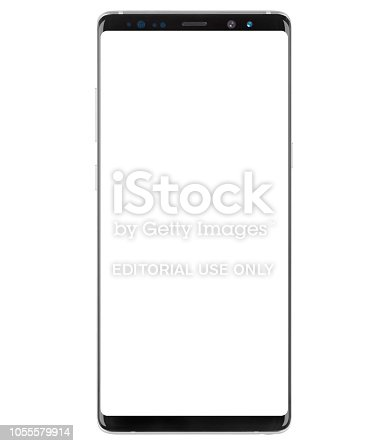 Samsung Galaxy Note 8 on white background. Display: 6.3-inch Super AMOLED. resolution: 2960x1440, RAM  6GB and 12MP camera.