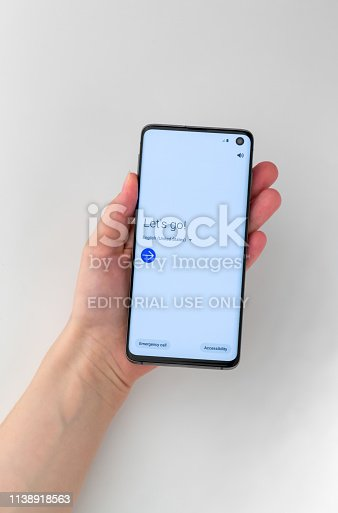 istock Samsung Galaxy S10 on a white background. 1138918563