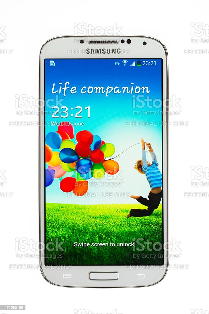 Samsung Galaxy S4,  isolated on white with 2 clipping path stock photo