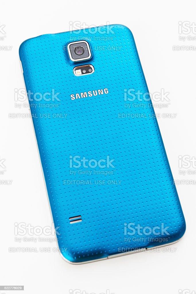 Samsung Galaxy S5 smartphone, showing camera lens stock photo
