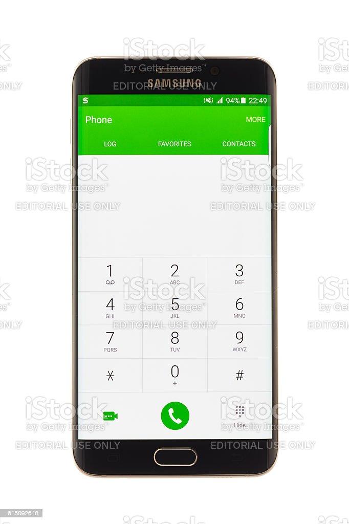 Varna, Bulgaria - October, 04, 2016:Samsung Galaxy S6 Edge+ smartphone stock photo