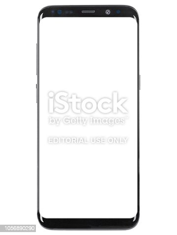 Studio shot of a Samsung Galaxy S8 Plus smartphone with white screen. Size: 6.2 inches, Resolution: 1440 x 2960 pixels, Camera: 12 MP.