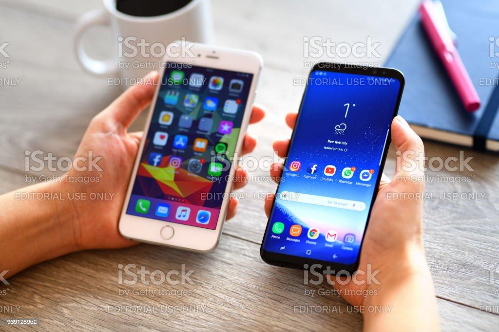 Samsung Galaxy S9 Plus and Apple iPhone 6 Plus smart phones