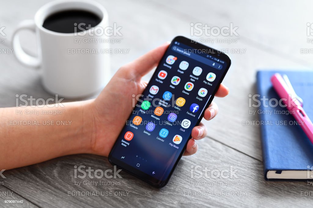 Samsung Galaxy S9 Plus smart phone stock photo