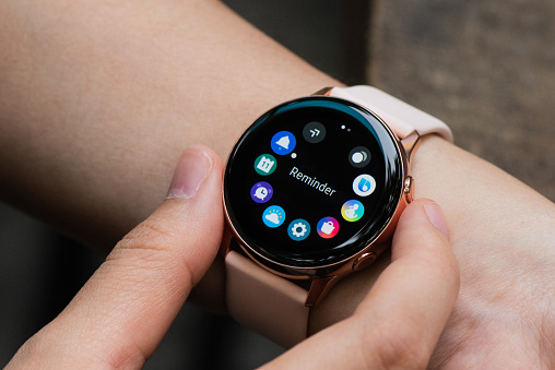 2 December 2019, Ho Chi Minh City, Vietnam - Closeup view of Samsung Galaxy Watch Active on hand, can be used for review purposes.