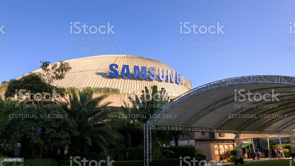Samsung logo at SM Aura Premier building, Shopping mall in Taguig, Philippines stock photo