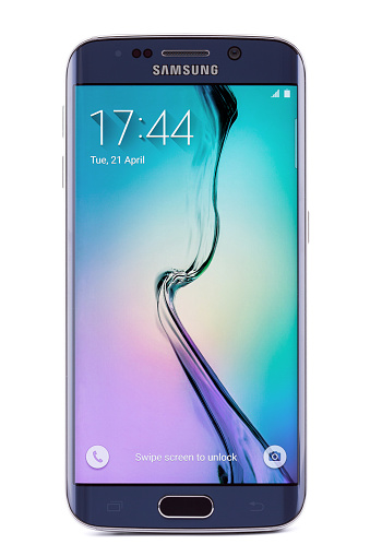 Sofia, Bulgaria - April 21, 2015: Studio shot of Samsung Galaxy S6 Edge smartphone. The telephone is supported with 5.1