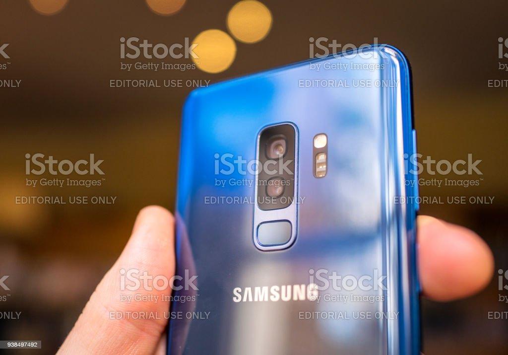 Samsung S9+ smartphone's dual camera lenses stock photo