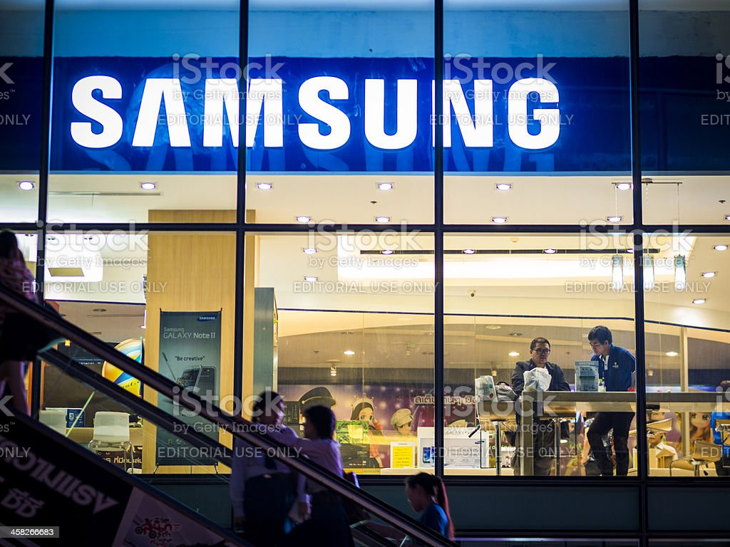Samsung store, Bangkok stock photo