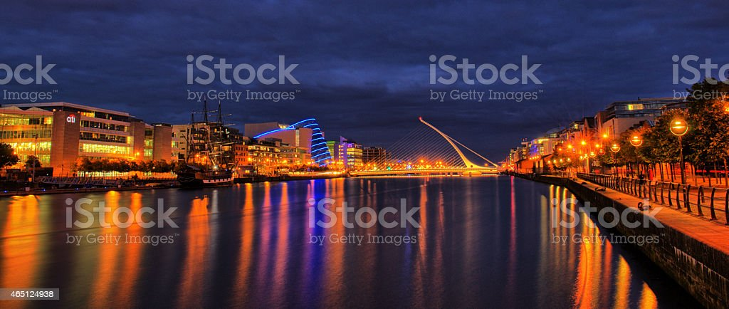 Samuel Beckett bridge and Convention Center in Dublin, Ireland stock photo