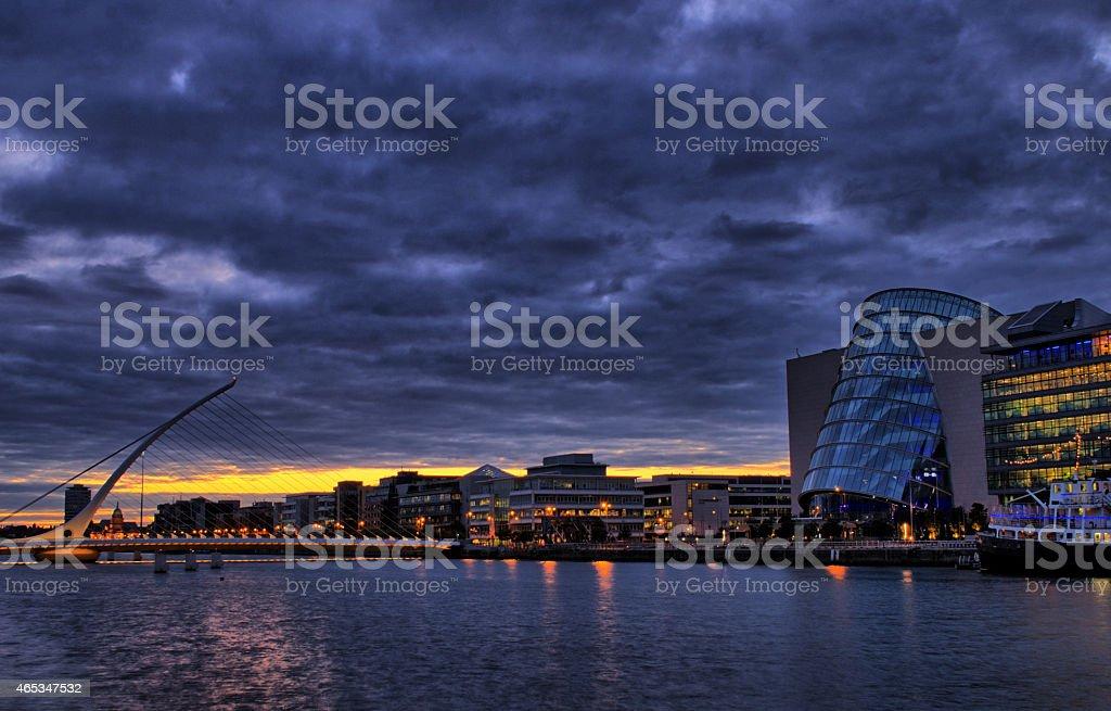 Samuel Beckett bridge and Convention Center in Dublin, Ireland stock photo