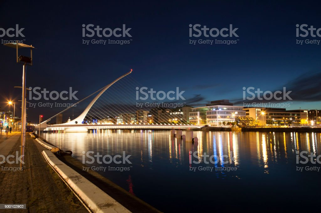 Samuel Beckett Bridge in twilight stock photo